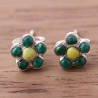 Chrysocolla and serpentine stud earrings, 'Floral Daydream' - Floral Chrysocolla and Serpentine Stud Earrings from Peru