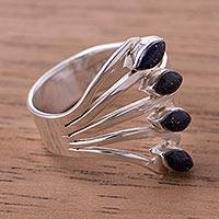 Glass beaded silver cocktail ring, 'Radiant Leaves' - Sterling Silver and Glass Beaded Cocktail Ring from Peru