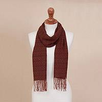 100% alpaca scarf, 'Subtle Spice' - Orange-Brown Subtle Diamond Pattern 100% Alpaca Woven Scarf
