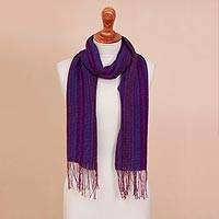 100% alpaca scarf, 'Mixed Berries' - Multicolor Striped 100% Alpaca Fringed Woven Scarf