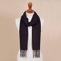 100% alpaca scarf, 'Ocean Horizon' - Midnight Blue and Fuchsia Stripe Textured Woven Alpaca Scarf