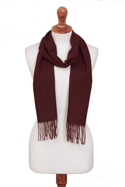 100% alpaca scarf, 'Vintner's Choice' - Burgundy 100% Alpaca Diamond Pattern Woven Fringed Scarf