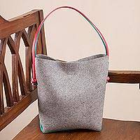 Leather accent wool and alpaca blend tote, 'Undeniable Woman' - Leather Accent Wool and Alpaca Blend Tote in Grey from Peru