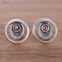 Sterling silver button earrings, 'Solar Center' - Sterling Silver and Copper Modern Button Earrings from Peru