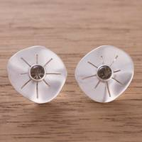 Smoky quartz button earrings, 'Chiribaya Discs' - Smoky Quartz and Sterling Silver Button Earrings from Peru