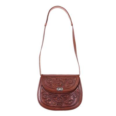 Adjustable Floral Leather Sling Handbag from Peru