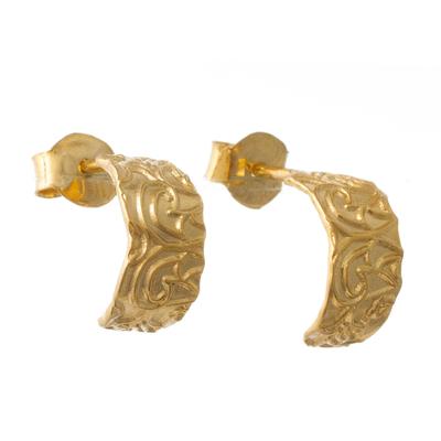 Gold Plated Sterling Silver Half-Hoop Earrings from Peru