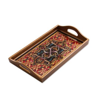 Floral Motif Reverse Painted Glass Tray from Peru