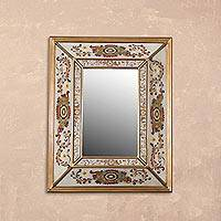 Reverse painted glass wall mirror, 'Regal Majesty' - Floral Reverse Painted Glass Wall Mirror from Peru