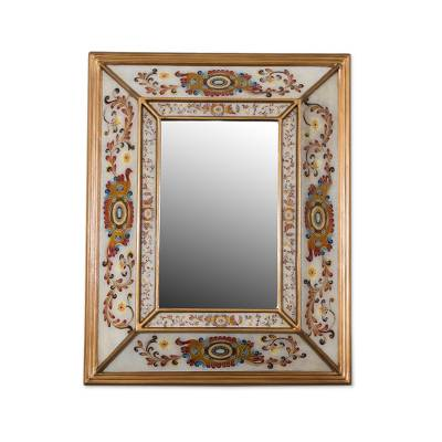 Floral Reverse-Painted Glass Wall Mirror from Peru