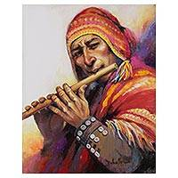 'Sweet Song' - Signed Painting of an Andean Flutist from Peru