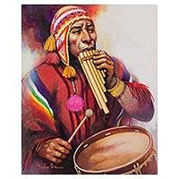 'Songs on an Antarita' - Signed Painting of an Andean Musician from Peru