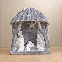 Huamanga stone nativity sculpture, 'Beautiful Nativity in Grey' - Grey Huamanga Stone Hand Carved Nativity Sculpture