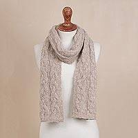 Alpaca blend scarf, 'Taupe Knit Braid' - Knit Alpaca Blend Wrap Scarf in Taupe from Peru