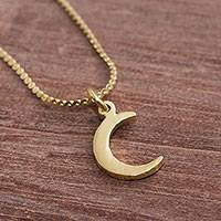 Gold plated sterling silver pendant necklace, 'Crescent Twinkle' - Gold Plated Sterling Silver Crescent Moon Necklace from Peru