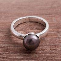 Cultured pearl cocktail ring, 'Black Nascent Flower' - Cultured Pearl Cocktail Ring in Black from Peru