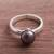 Cultured pearl cocktail ring, 'Black Nascent Flower' - Cultured Pearl Cocktail Ring in Black from Peru thumbail