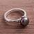 Cultured pearl cocktail ring, 'Black Nascent Flower' - Cultured Pearl Cocktail Ring in Black from Peru (image 2b) thumbail