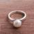 Cultured pearl cocktail ring, 'White Nascent Flower' - Cultured Pearl Cocktail Ring in White from Peru thumbail