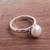 Cultured pearl cocktail ring, 'White Nascent Flower' - Cultured Pearl Cocktail Ring in White from Peru (image 2b) thumbail