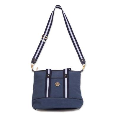 Blue Cotton Padded Handbag with Detachable Shoulder Strap