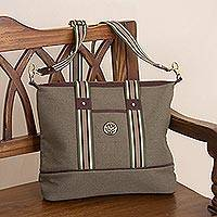 Leather accent cotton shoulder bag, 'Downtown Day in Olive' - Olive Cotton Padded Handbag with Detachable Shoulder Strap