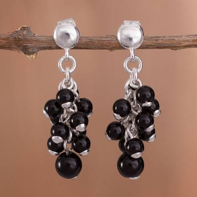 Onyx dangle earrings, 'Blackberry Cluster' - Onyx Bead Cluster and Sterling Silver Dangle Earrings