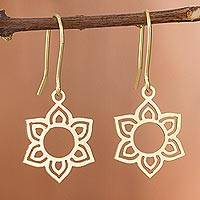 Gold plated sterling silver dangle earrings, 'Floral Corona' - Flower-Shaped Gold Plated Sterling Silver Earrings from Peru