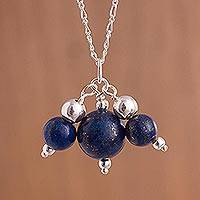 Lapis lazuli pendant necklace, 'Triple Charm in Blue' - Lapis Lazuli and Sterling Silver Bead Pendant Necklace