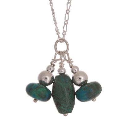 Chrysocolla and Sterling Silver Bead Pendant Necklace