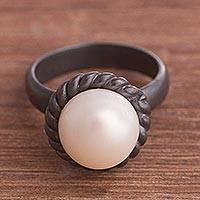 Cultured pearl cocktail ring, 'Sea Riches' - Round Cultured Pearl Oxidized Sterling Silver Cocktail Ring