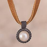 Cultured pearl pendant necklace, 'Sea Riches' - Cultured Pearl Oxidized Sterling Silver Pendant Necklace