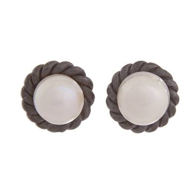Cultured pearl button earrings, 'Sea Riches' - Cultured Pearl and Oxidized Sterling Silver Button Earrings