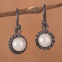 Cultured pearl dangle earrings, 'Sea Riches' - Cultured Pearl and Oxidized Sterling Silver Dangle Earrings