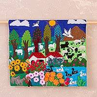 Cotton blend applique wall hanging, 'Garden Stream' - Cotton Blend Valley Garden Stream Applique Wall Hanging