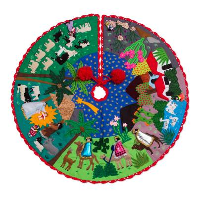 Multicolor Cotton Blend Nativity Scene Arpilleria Tree Skirt