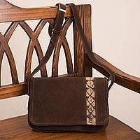Wool accent suede sling, 'Mountain Style' - Mahogany Brown Suede Sling with Woven Wool Accent
