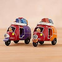 Ceramic figurines, 'Mini Mototaxis in Red' (pair) - Handcrafted Multi-Color Mototaxi Ceramic Figurines (Pair)