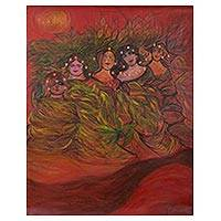 'Mixed Feelings in Red' (2010) - Signed Painting of Mermaids in Red (2010) from Peru