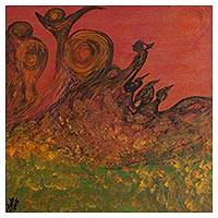 'Voices of the Hills' - Signed Expressionist Landscape Painting from Peru