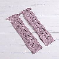 100% alpaca leg warmers, 'Cozy Rose' - Dusty Rose 100% Alpaca Textured Knit Leg Warmers from Peru