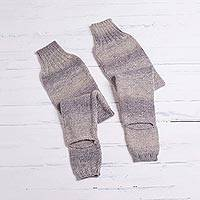 Alpaca blend leg warmers, 'Ombre Clouds' - Gradient Vanilla to Smoky Grey Alpaca Blend Knit Leg Warmers