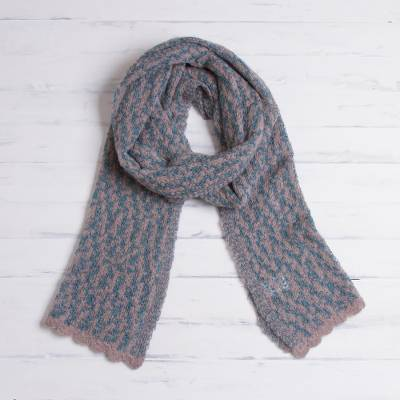 Alpaca blend scarf, 'Frothy Sea' - Grey and Aquamarine Alpaca Blend Knit Scarf from Peru