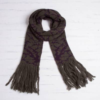 100% alpaca scarf, 'Branches in Twilight' - Olive Green and Dark Purple 100% Alpaca Blend Knit Scarf
