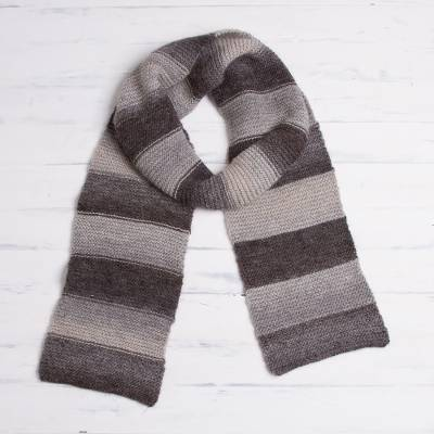 Alpaca blend scarf, 'Ombre Stripes' - Dark Brown and Light Grey Striped Alpaca Blend Knit Scarf