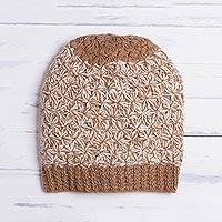 100% baby alpaca hat, 'Golden Brown Delight' - Hand Knit Brown and White Baby Alpaca Hat from Peru