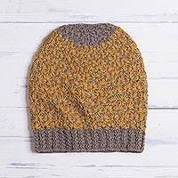 100% baby alpaca hat, 'Amber Delight' - Hand Knit Yellow and Brown Baby Alpaca Hat from Peru