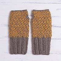 100% baby alpaca gloves, 'Inner Warmth in Clay and Amber' - Hand Knit Brown and Amber Baby Alpaca Fingerless Gloves