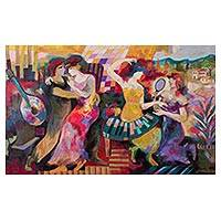 'Contemplation of Nature' - Signed Expressionist Painting of Dancing People from Peru