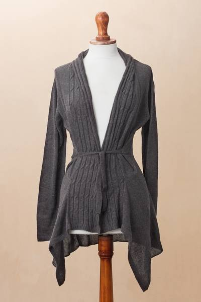 Cotton blend cardigan, 'Graphite Feminine Enchantment' - Knit Cotton Blend Cardigan in Graphite from Peru